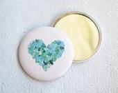 Aquamarine light blue heart pocket mirror