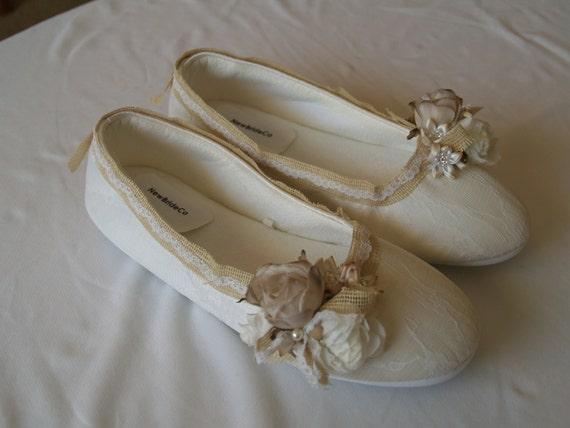 Wedding Flats Vegan Shoes Rustic Wedding Style Ivory