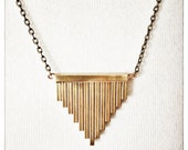 Pipe Organ Necklace // Handmade Brass Pendant with Brass Chain