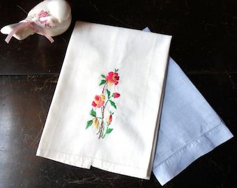 Pair of Hand Embroidered Hand Towel, Guest Towels, Needs Repair