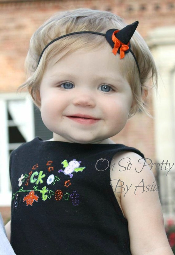 Halloween Headband - Halloween Witch Hat Headband - Black Orange Headband - Halloween Ribbon Sculpture - Mini Witch Hat Halloween Hair Clip