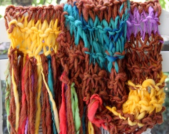 Hand Knit Bulky Scarf, in Brown, with pastels of Turquoise, Pink, Yellow and more, Super Soft Handspun Hand Dyed Bulky Yarn