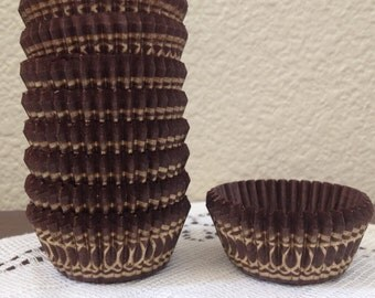 """Brown with Gold """"Danish"""" Cupcake Muffin Baking Liner Cups Mini or Standard"""