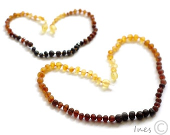 Raw Unpolished Baltic Amber Baby Teething Set for Baby and Mommy. Rainbow Color Beads