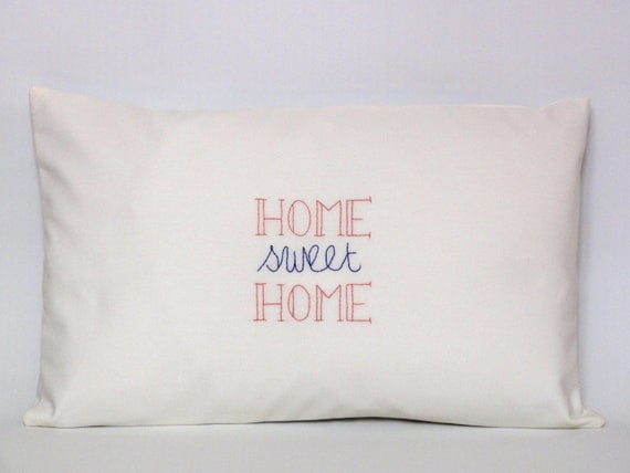 Home Sweet Home pillowcase from Etsy Shop audemarine