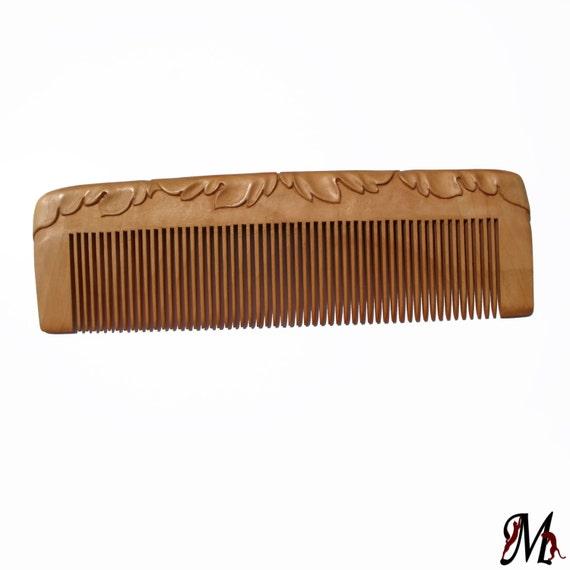 Natural wooden hair comb wood carving hair comb head scalp massage natural hair accessory handmade by MariyaArts