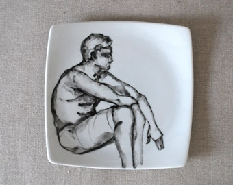Man resting - Hand painted Male black and white geometric porcelain plate. Modern art painting/ Figurative/ Rest/ Male/ Man