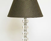 Black Lamp Shade with Optional Lamp Base - Medium Round Black and Gold Polka Dot Lampshade - Black and Gold Decor - Bedroom Lighting