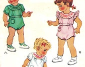 McCall 1393 Photocopy of Vintage 40s Amazing Toddler Girls or Boys Romper Sewing Pattern with gorgeous Embroidery Transfer Size 1