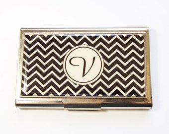 Monogram Case, Monogram Business Card Case, Business Cards, Personalized, card case, business card holder, Chevron, You select color (2934)