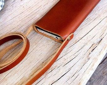 Neck strap classic branch brown leather iphone wallet