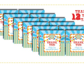 Circus/Carnival Thank You Tags-INSTANT DOWNLOAD