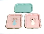 Vintage Small Angel Trays Baby Nursery Decor 1950s // Pink Mint Color Cottage Chic Decorative Trays