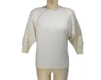 vintage 1980s PIERRE CARDIN embellished sweater / ivory / angora blend / 80s sweater / dolman sleeve / women's vintage sweater / size medium