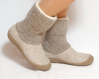 Felted boots natural beige brown - felted wool boot valenki - wool boots - felt boot