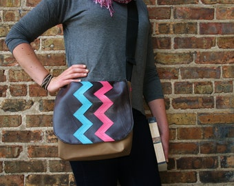 Messenger Bag for Women Bag Purse Satchel Chevron Pink Blue Brown