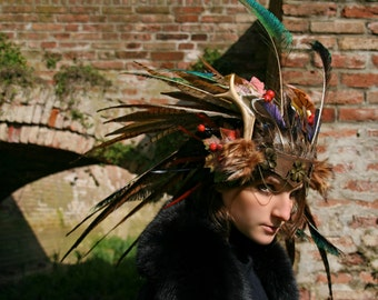 MADE TO ORDER - shaman headwear leather feather red autumn horns horn deer magic larp fantasy wicca wiccan druid demon costume halloween