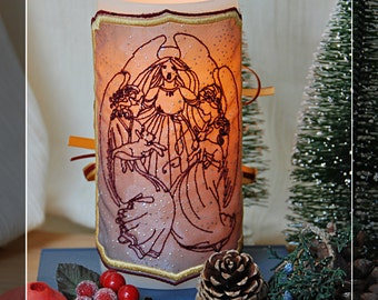 Three Hallowed Angels Embroidered Candle Wrap For LED Flameless Pillar Candles.