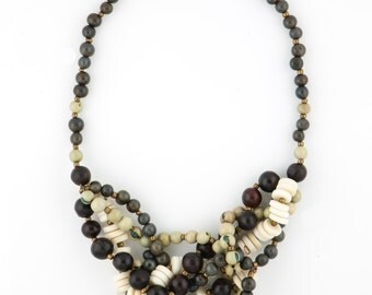 Tagua Seed Button & Acai Seed Statement Necklace, MIXTA Style