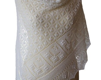 Knitted Shawl , Triangular, Estonian lace, nupps, bright white