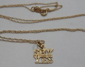"""14k Solid Yellow Gold Say Yes Letters Phrase Charm Pendant and 18"""" Chain Link Necklace"""