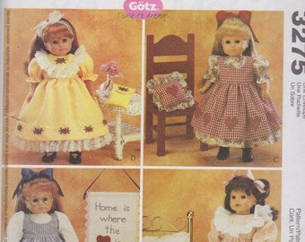 McCalls Crafts Gotz #3275 - Time to Dream - 18 inch Doll Patterns for Nightgown, Quilt, Dress, Pillow