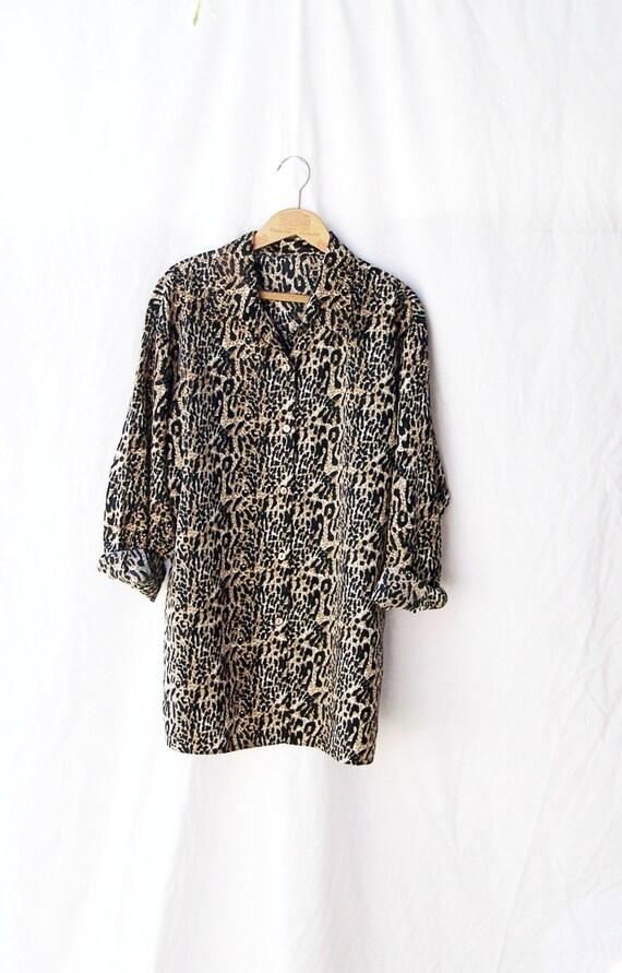 LEOPARD PRINT SHIRT Vintage 1990s Cheetah Print Blouse Animal Print Tunic Slouchy Long Sleeve Button Up grunge fashion women xl