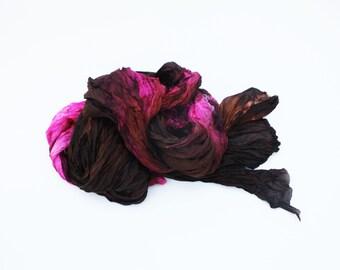 brown silk scarf - Chocolate Raspberry-  brown, burgundy, magenta. hot pink silk scarf.