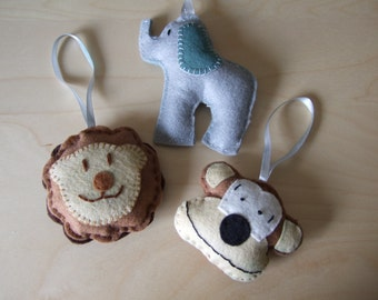 Felt Elephant, Monkey & Lion Toy with hanging ribbon.  Ideal for Pram, Stroller, Pushchair suitable for children from birth, Hand Made Gift