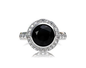 1.60ct Black diamond ring, halo, engagement ring, diamond engagement, gothic, black engagement, black diamond, halo ring, rose gold rings