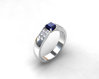 Blue Sapphire, White Gold, Engagement ring, sapphire engagement, Diamond engagement, Princess cut sapphire, Sapphire ring, blue engagement