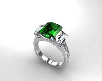 3.21ct emerald cut green tourmaline engagement ring, white gold, yellow gold, rose gold, white sapphire, unique, green, trinity, sapphire