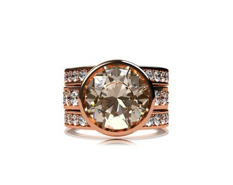 Engagement ring set, 3.42ctct morganite ring, white sapphire, peach morganite, morganite engagement, wedding band, sapphire wedding, gold