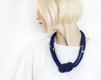 Blue & Gold - Knotted cord necklace in navy with beads