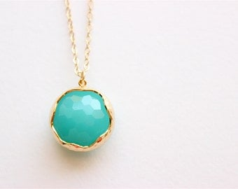 """Gold Necklace - Stone Necklace - Long Necklace - 24"""" - Large Mint Faceted Glass Stone Pendant on Matte Gold Chain"""