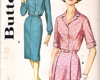 "Vintage 1960's Butterick 2256 Slimliner Shirtdress Sewing Pattern Size 22 1/2 Bust 43"" UNCUT"