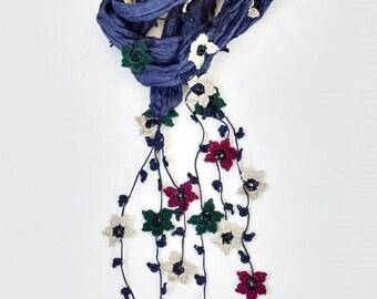 Cotton Wrap Scarf, Crochet Necklace, Oya Beaded Necklace, Flowers Necklace, Fringed Necklace, Soft Cotton Foulard, Jewelry Scarf, ReddApple