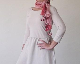 Cotton Wrap Scarf, Ombre Wrinkled Scarf, Crochet Lace Beaded Scarf, Tie Dye Foulard, Dusty Rose Oya Scarf, Women's Gift, Christmas Gift