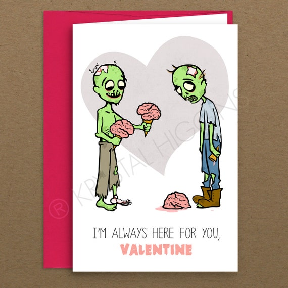 Zombie Ice Cream Folded Valentine Card - Blank Inside