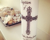 Custom Handmade Baptism Candle - Fully Personalized Cross and Name of Your Choice - God Faith Love Candle Children Baptism Gift