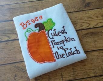 """Halloween or Thanksgiving shirt or Bodysuit """"Cutest pumpkin in the patch"""" - Pumpkin shirt - boys Thanksgiving shirt  - Fall shirt"""