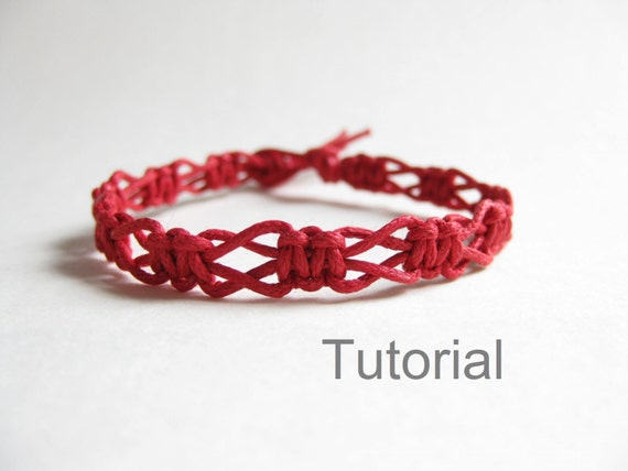 beginners macrame knotted bracelet pdf tutorial pattern easy red diy instructions tuto jewelry. Black Bedroom Furniture Sets. Home Design Ideas