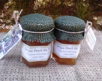 Rustic Jam Favor/ Burlap Family Reunion Jam Favors/25 Special Event Souvenirs/ 2 Oz  Mini Jams