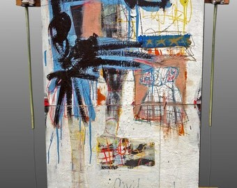 Civil Servant - Large Abstract Painting on (framed) Wood Panel