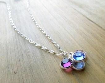 Four Birthstone Necklace in Sterling Silver - Swarovski Crystal (1005)
