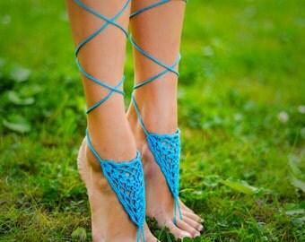 Aqua Barefoot Sandal Turquoise Sandals Foot Jewelry Crochet Feet Accessory