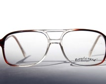 Boulevard Boutique Classic Aviator Clear to Brown Ombre Fade New Old Stock RX Glasses with Demo Lenses