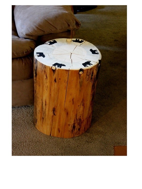 Black Bear Furniture Tree Stump Table By Bessiescreations