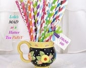 MAD HATTER TeA PaRtY 100 Paper Party Straws 100 Vibrant mix of Stripes & Dots Alice in ONEderland, Bridal Tea, Disney, Storybook, Fairytale