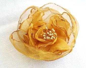 Golden Yellow Organza Bridal Flower Hair Clip with Gold Stamen Fall Autumn Wedding Accessories